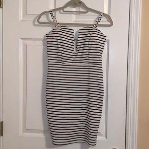 LF B&W Stripe Bodycon Dress